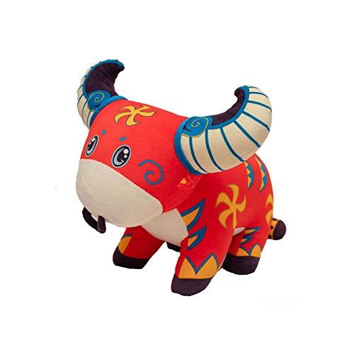 RUIXI Muñeca del año de buey, con diseño de cachemira de animales, para el hogar, el tiempo libre, cojín de regalo para niños