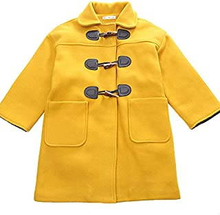 Xifamniy Children Infant Girls Autumn&Winter Woolen Coat Horn Buckle Thicken Yellow Jacket