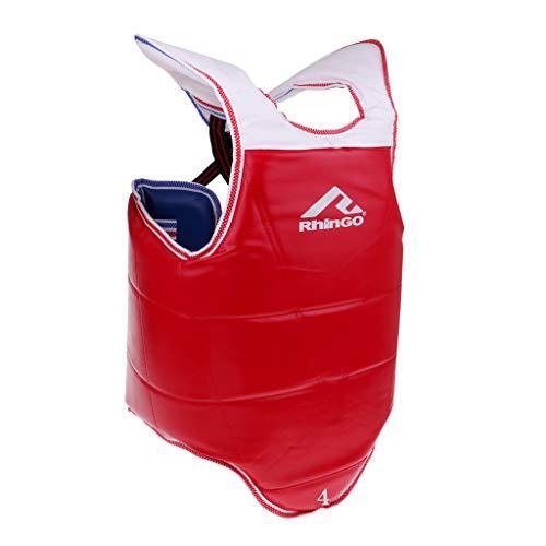 lahomia Chaleco Protector de Pecho Ajustable para Boxeo, Karate, Sparring - Azul + Rojo, L