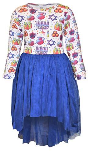 Unique Baby Girls Hannukah Dreidel Menorah Tutu Dress Outfit (8, Hannukah)
