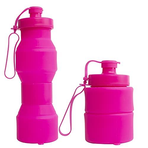 RYHX Botella De Agua Plegable De 800 Ml, Botella De Agua Deportiva, Botella De Agua A Prueba De Fugas, Tritan De PláStico Sin Bpa, Botella De Agua Reutilizable, para Acampar, Adultos, NiñOs,Es