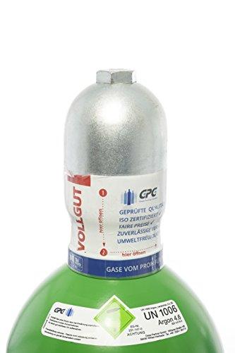 Argon 4.6 20 Liter Flasche/NEUE Gasflasche (Eigentumsflasche), gefüllt mit Argon 4.6 (Reinheit 99,996%) / 10 Jahre TÜV ab Herstelldatum/EU Zulassung/PROFI-Schweißargon WIG,MIG - Globalimport