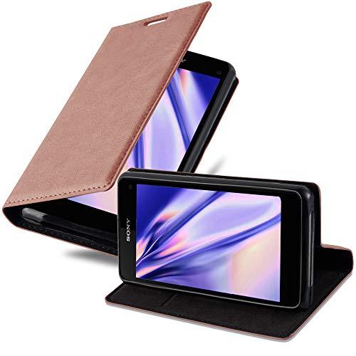 Cadorabo Hülle für Sony Xperia Z1 COMPACT - Hülle in Cappuccino BRAUN – Handyhülle mit Magnetverschluss, Standfunktion & Kartenfach - Hülle Cover Schutzhülle Etui Tasche Book Klapp Style