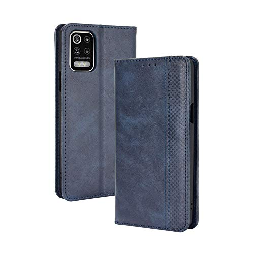 GOGME Leder Hülle für LG K52/K62/Q52 Hülle, Premium PU/TPU Leder Folio Hülle Schutzhülle Handyhülle, Flip Hülle Klapphülle Lederhülle mit Standfunktion und Kartensteckplätzen, Blau