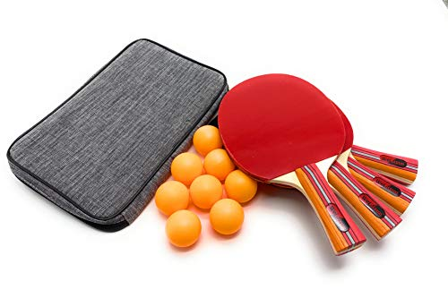 For Sale! UniqueMax Ping Pong Paddle, Best 4 Pack Professional Table Tennis Racket Set, 8 Game Balls...