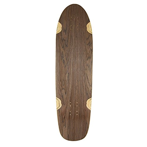 WoodStock Kicktail Longboard Deck, 86,4 cm, dunkles Walnussholz, blanko