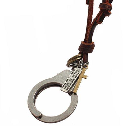Gudeke Hommes Femmes Menottes Collier en cuir avec pendentif 70cm Chain