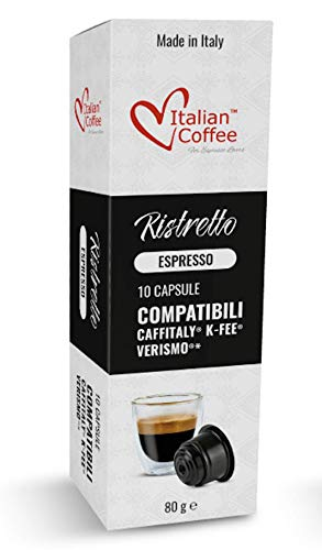 Espresso capsules compatible with Starbucks Verismo, CBTL, Caffitaly, K-fee systems, Italian Coffee pods (80 pods RISTRETTO blend)