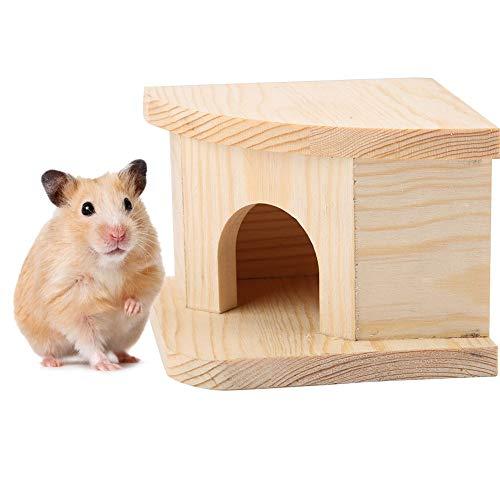 Pssopp Hámster House Gerbils Hideout Cama de hámster de madera Cabina de animales pequeños Casa cálida Hámster Nido ratas ratón planeador de azúcar cabañas jaula Accesorios
