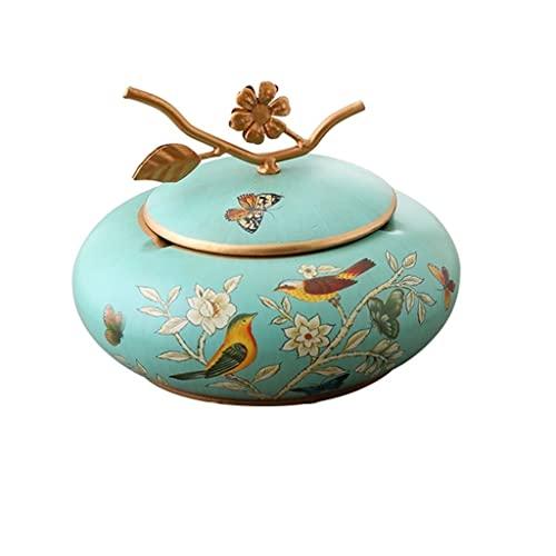 xuejuanshop Cenicero de Regalo Cenicero hogar cenicero con Tapa cerámica cenicero Grande Sala de Estar Mesa de Centro Retro Almacenamiento decoración Cenicero casero (Color : A)