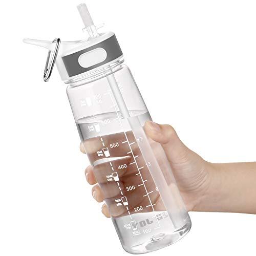 Wasserflasche, 800ML Trinkflasche mit Strohhalm und Griff BPA-Frei, Wasserflasche mit Zeitmarkierungen zur Erinnerung an die Trinkzeit, Ideal für Sport, Fahrrad, Yoga, Wandern und Camping