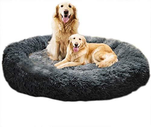 CENY Pluche Donut Hondenbedden Extra Zachte Wasbare Comfortabele Knuffel Kennel Zachte Puppy Sofa met Anti-Slip Bodem voor Grote Extra Grote Honden Verbeterde Slaap,Machine Wasbaar, XXL-110cm, Drak Grijs