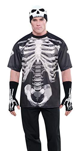 Amscan 840971-55 - Skelett-Shirt, Einheitsgröße, Schwarz-Grau-Weiß, Herren-Oberteil mit Knochenmotiv, für Halloween und Karneval, Horror, Zombie