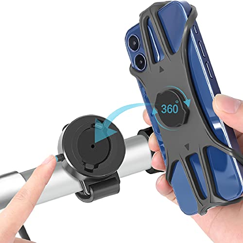 """CNYMANY Porta Cellulare Bici, Supporto Smartphone per Bici Manubrio MTB Universale 360° Rotabile Telefono Portacellulare Moto Bicicletta e Dispositivi Elettronici per 4.0""""-6.9"""" iPhone Samsung Huawei"""