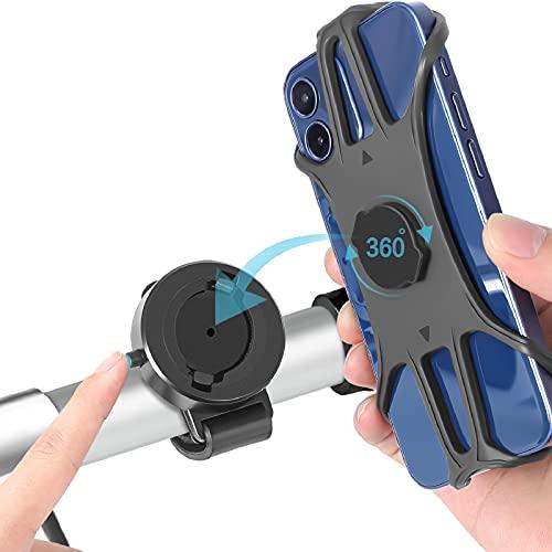 CNYMANY Porta Cellulare Bici, Supporto Smartphone per Bici Manubrio MTB Universale 360° Rotabile Telefono Portacellulare Moto Bicicletta e Dispositivi Elettronici per 4.0'-6.5' iPhone Samsung Huawei