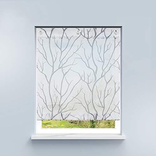 HongYa Raffrollo ohne Bohren Transparente Raffgardine Voile Ösenrollo Küche Kleinfenster Gardine mit Hakenösen Äste Muster H/B 140/80 cm Weiß Grau