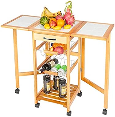Kitchen Cart Rolling Drop Leaf Kitchen Storage Trolley Cart Portable Folding Kitchen Dining Cart for Dining Room Living Room,