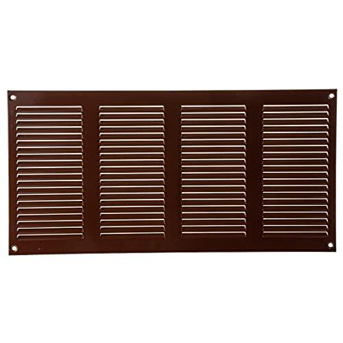 Vent Systems Rejilla de ventilación de metal para rejilla de ventilación de 20 x 400 mm, color marrón