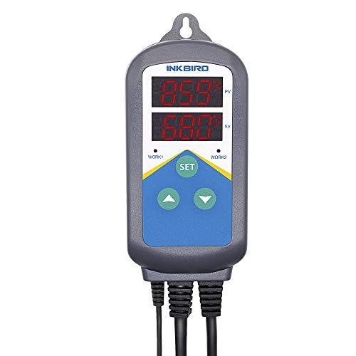 Inkbird ITC-306T Termostato Digital con Sonda de Acuarios 2 Relés Control de Rango de Temperatura del Calentador, Temporizador Bucle de 24 Horas del Día&Noche para Incubadora, Acuario, Reptiles y Anfibios