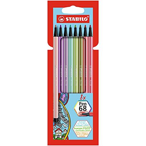 Premium-Filzstift - STABILO Pen 68 - 8er Pack - mit 8 verschiedenen Farben