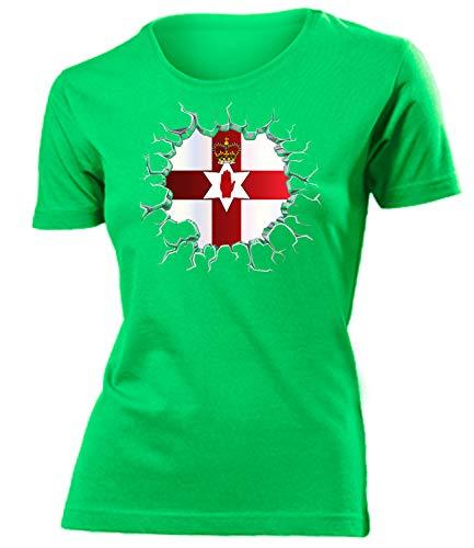 Nordirland Northern Ireland Wunsch Fan t Shirt Artikel 6410 Fuss Ball World Cup Jersey EM 2020 WM 2022 Trikot Look Flagge Frauen Damen Mädchen L