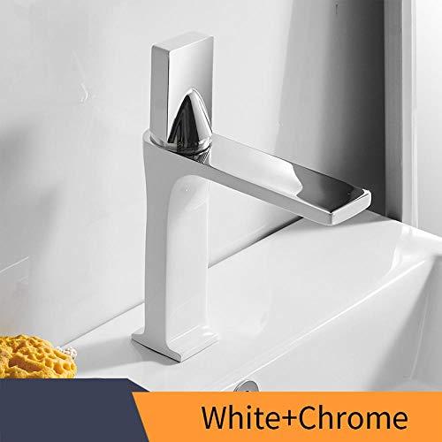 Wastafelkraan, retro witte kraan, wastafelkraan in de badkamer, eengreeps eengats warm en koud mengwater kraan, fijne koperen kraan kraan-White_and_Chrome