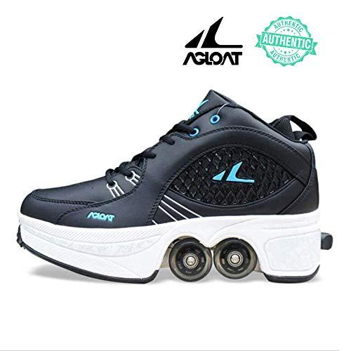 KUXUAN Rollschuhe 2-in-1-multifunktionale Deformation Schuhe,Madchen Verstellbar Quad Skate,Kinder Inline-Skate Skating,Outdoor Sportschuhe Für Erwachsene,Black-41