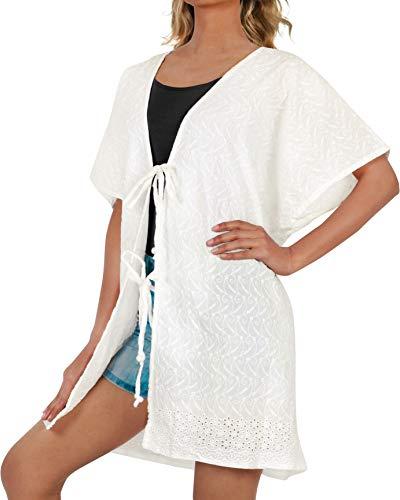 LA LEELA Damen Baumwolle Kimono Cardigan Sommer Cover up Leichte Jacke Strand Weiß_A433 DE Größe: 42 (L) - 52 (4XL)