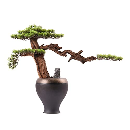 Bonsai Decorative Artificial Bonsai Tree Decoración interior Árbol artificial Grava Rellenos en macetas de cerámica Hojas de pino artificial Verde Plantas Falsas Verdes Plantas Potted Bonsai Tree