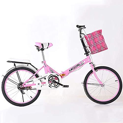 GZLL 20-Zoll-faltendes Fahrrad, Frauen Leichte Bikes, Ultra Light Variable Speed Fahrrad, beweglicher Studenten Fahrrad Faltbare Fahrrad, mit Fahrradträger, Erwachsene Bikes (Farbe : Rosa)