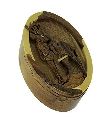 Caja de rompecabezas de madera tallada a mano