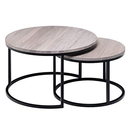 Hochwertiger Couchtisch aus Eiche & Metall - Satztisch aus Massiv Holz im 2er Set   Wohnzimmertisch aus Echtholz   Moderner Massivholz Beistelltisch - rund & kompakt - 50 cm hoch   Hell braun