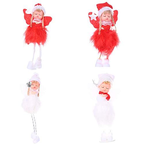 BBQQ - Juego de 4 adornos navideños para regalo, diseño de Papá Noel, muñeco de nieve, juguete para colgar, adornos de Navidad, decoración de árboles, pijamas para la familia