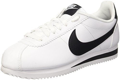 Nike Damen Classic Cortez Leather Laufschuhe, Weiß Black/White 101, 40.5 EU