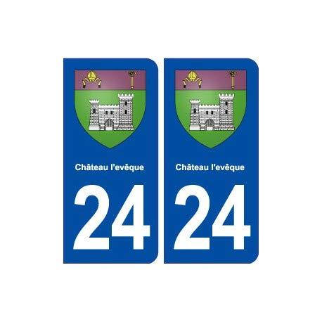 Bearn 24 slot l'evêque wapen zelfklevend affiche sticker afdeling - hoeken: afgerond, achtergrondkleur: blauw