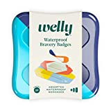 Welly Bandages - Waterproof | Adhesive Flexible Fabric Bravery Badges | Assorted Shapes for Minor Cuts, Scrapes, and Wounds | Colorful and Fun First Aid Tin | Nautical Patterns - 39 Count