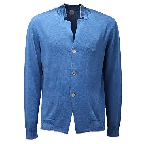 Eleventy 5331AD Cardigan Uomo Azure Cotton Sweater Man [M]