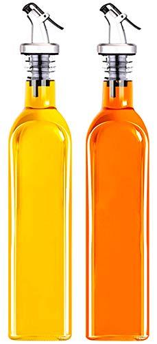 Essig und Öl Spender 2er Pack,Ölflasche aus Glas mit Ausgießer,Olivenöl Dispenser mit Anti-Schmutz Verschluss 500ml ,Auslaufsicher und Tropffrei