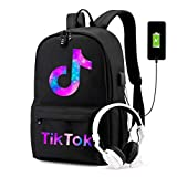 TikTok Schoolbag USB Anti-Theft Laptop Backpack for Teenagers Girl and Boys Bookbag (Black-2)