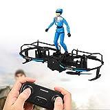E020 Mini quadricottero a 2 Assi, Pilota acrobatico, per Bambini Principianti all'aperto, al Chiuso(Blue, Insect)