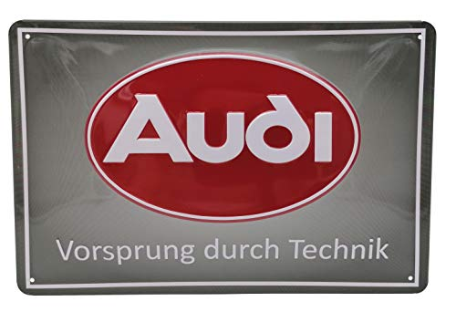 Mehr Relief-Schilder hier... Blechschild - Audi, Vorsprung durch Technik - hochwertig geprägtes Stahlblech Schild, 30 x 20 cm Dekoration, Wandschild, Werkstatt, Garage, Auto Schild