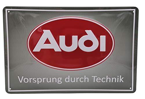 Mehr Relief-Schilder hier... Cartel de chapa – Audi, Vorsprung durch Technik – Cartel de chapa de acero de alta calidad, 30 x 20 cm, decoración, para pared, taller, garaje, coche