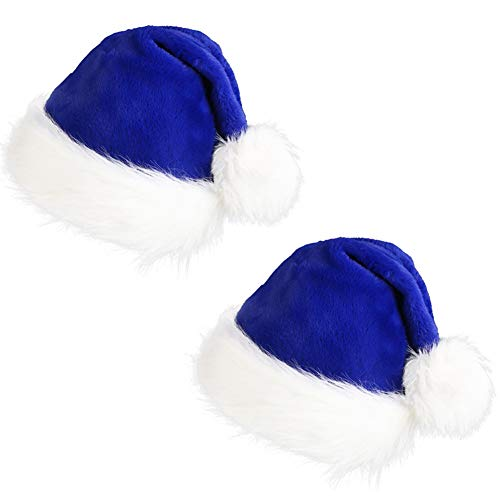 CCINEE Santa Hat for Adults,Blue Plush Santa Hats Velvet Christmas Hat for Home Decoration Party Supplies,Pack of 2