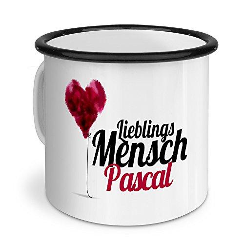 printplanet Emaille-Tasse mit Namen Pascal - Metallbecher mit Design Lieblingsmensch - Nostalgie-Becher, Camping-Tasse, Blechtasse, Farbe Schwarz