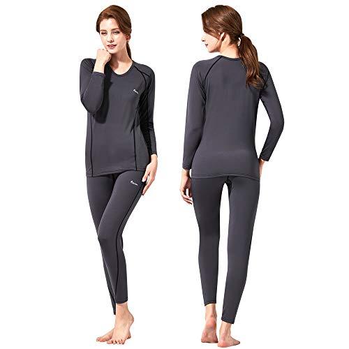 Feelvery Women's HEATPRO Active Performance Long Johns Thermal Underwear Set with Excellent Soft Warm Fleece Lined (Dark Gray, Medium)
