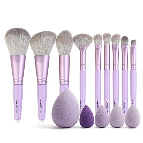LIANMIBA Kosmetika 9 stücke Make-up Pinsel Set + 5 stücke Mini Schwamm Hohe Qualität Natürliche Kunsthaar Professionelle Kosmetische Schönheit Makeup Werkzeuge Kit (Handle Color :...