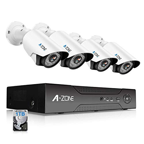 A-ZONE 1080P Security Camera System 8 Channel DVR 1080P AHD Home Surveillance System W/ 4X HD 1080P Waterproof Night Vision Bullet Camera, Including 1TB HDD,Customizable Motion Detection