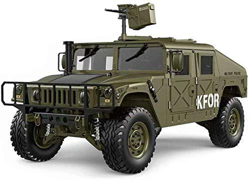 KRCT 1/10 Alta de la simulación RC Hummer Coche 2.4G 4WD 16CH 30 kmh Alta Velocidad de Control Remoto Recargable de Camiones de Juguete Auto eléctrico RC Profesional Jeep Militar (Color : Verde)