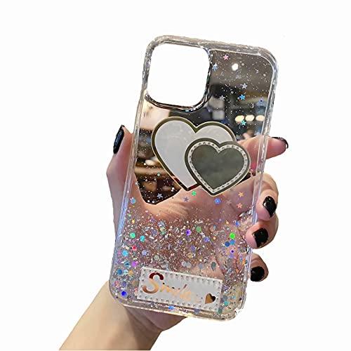 TYWZ Funkeln Handyhülle für Samsung Galaxy Note 10 Lite,Klar Diamant Glitzer Bling Star Schutzhülle Mädchen Frauen Soft TPU Crystal Hülle-Lächeln Herz,Transparent