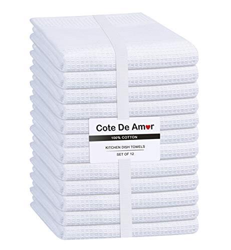 Cote De Amor 12er Set Geschirrtuch Küchentücher 40 x 66 cm 100% Baumwolle - Saugfähige Maschinenwaschbar Küchentücher mit Aufhängeöse - Weiß